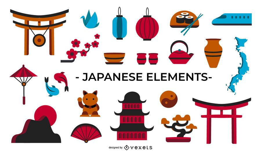 Japanese Culture Flat Elements Collection