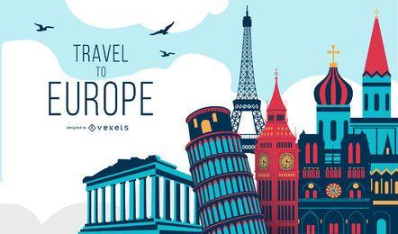 Ilustração do conceito de viagem para a Europa