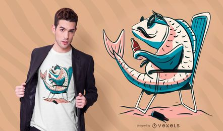 Design de camiseta cerveja peixe carpa
