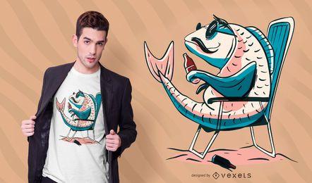 Diseño de camiseta de cerveza carpa pescado