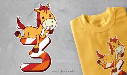 Diseño de camiseta de cumpleaños de caballo