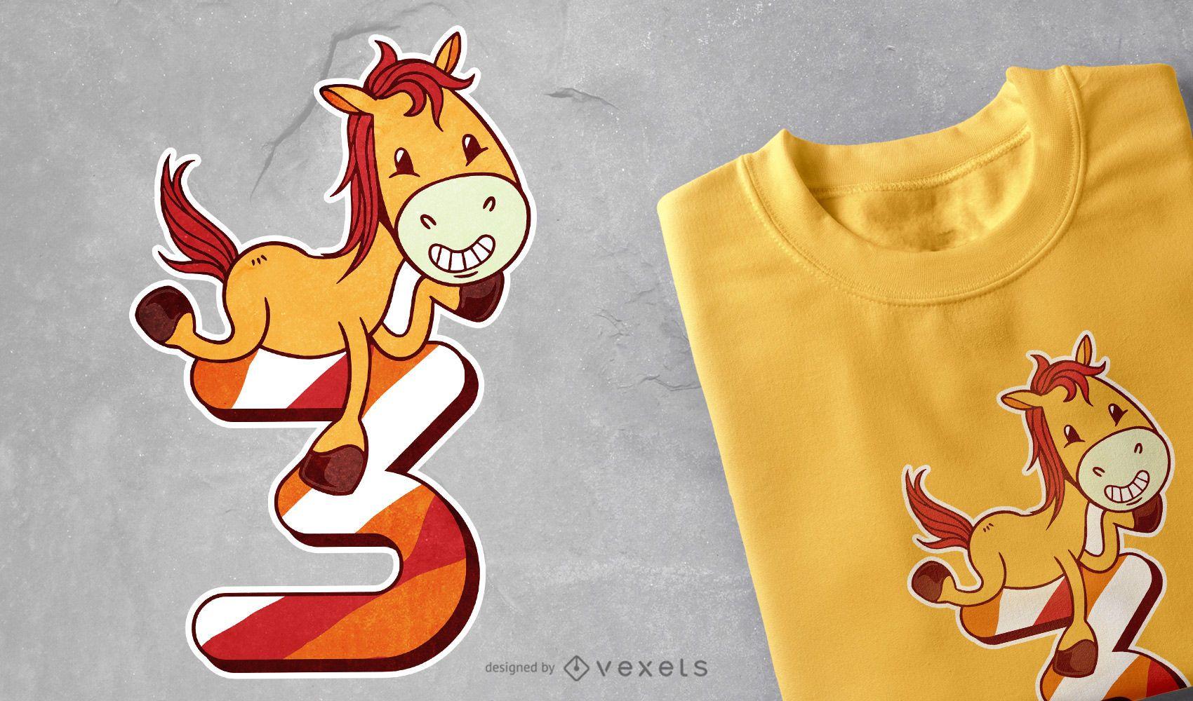 Diseño de camiseta de cumpleaños de caballo.