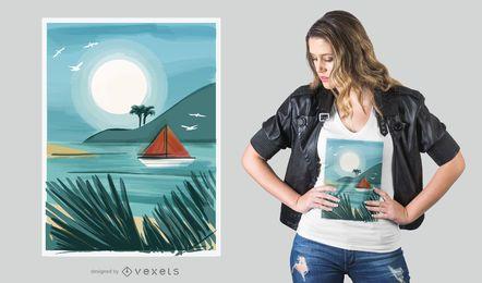 Desenho de t-shirt de praia em aquarela