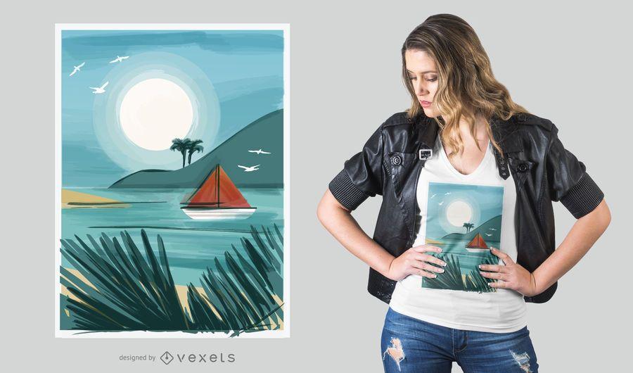Watercolor beach t-shirt design