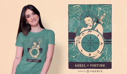 Diseño de camiseta de tarot de la rueda de la fortuna.