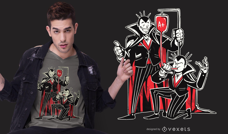Diseño de camiseta de vampiros de sangre bong