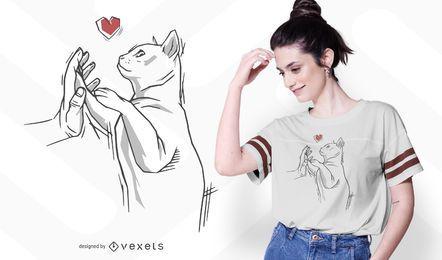 Diseño de camiseta de mano de gato
