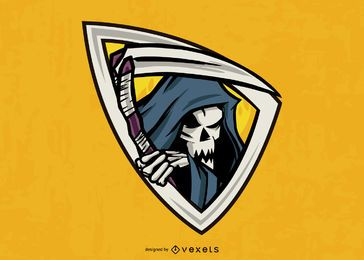 Grim reaper emblem illustration