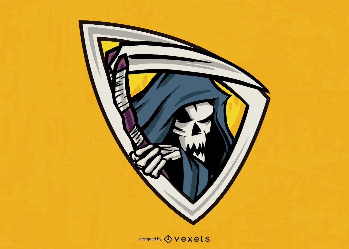 Grim reaper emblem illustration