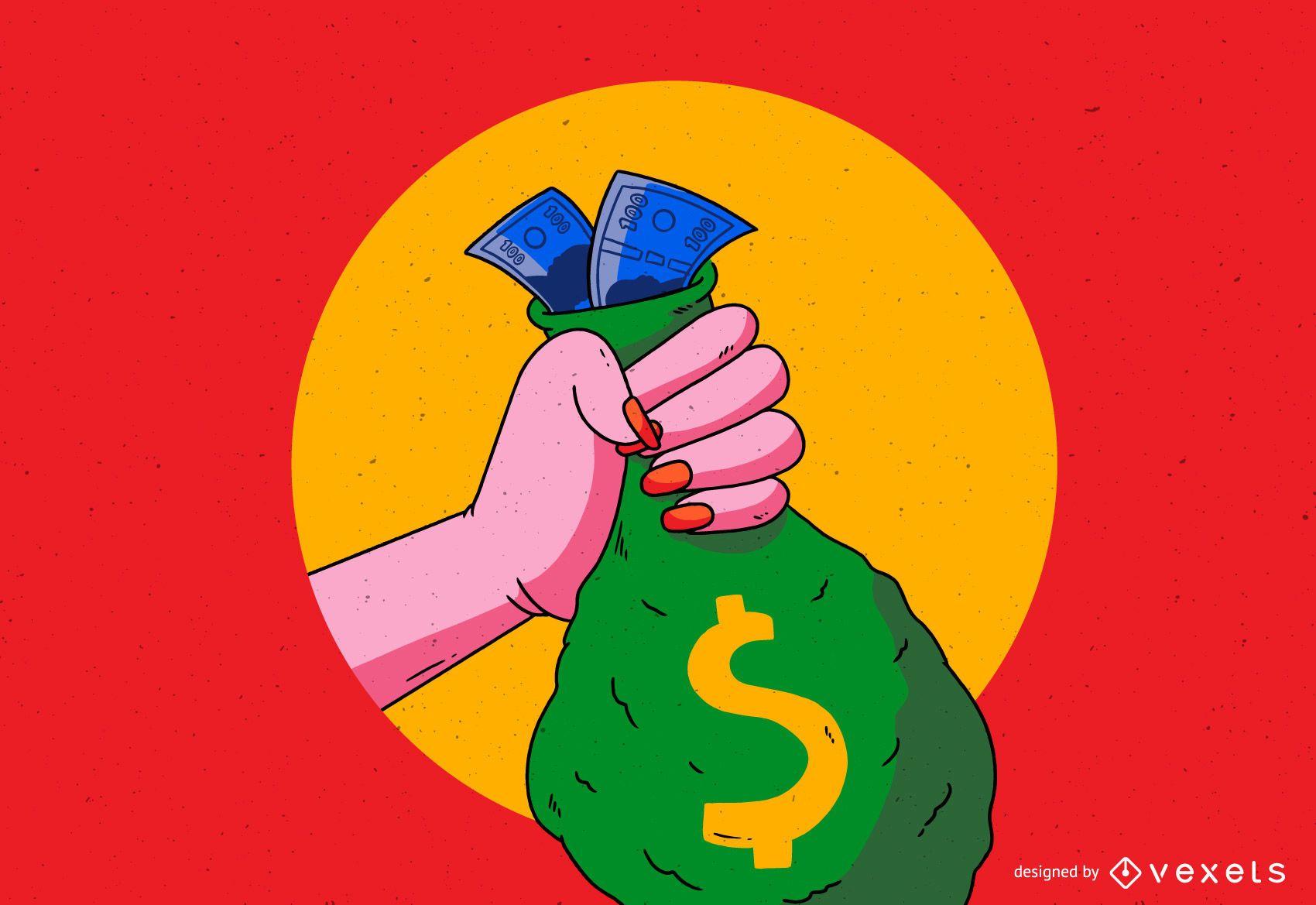 Mano con ilustración de bolsa de dinero