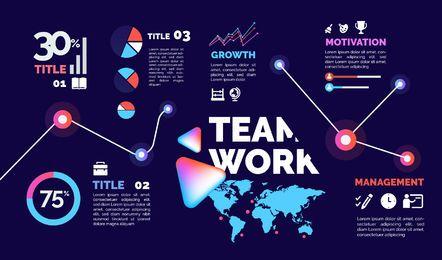 Diseño de infografía empresarial abstracto