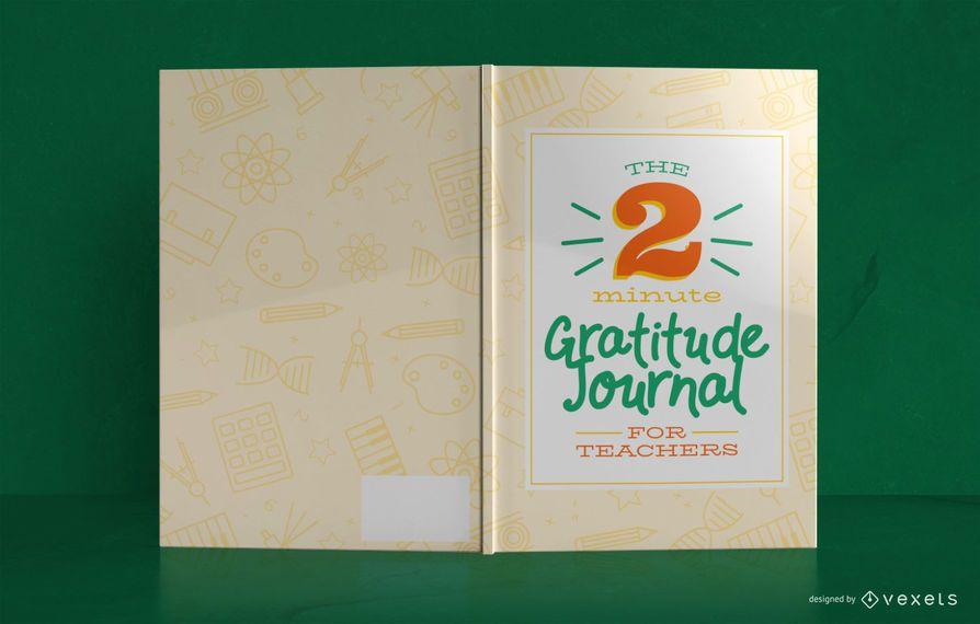 Diseño de portada de libro de diario de gratitud del maestro
