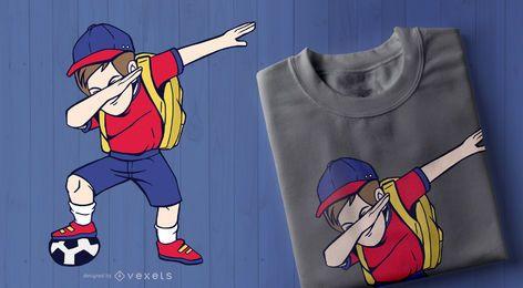 Design de t-shirt Dabbing de criança de futebol