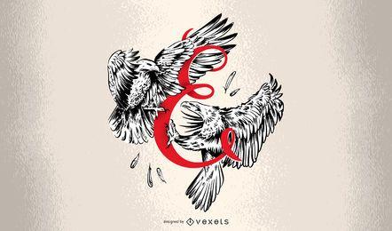 Letra E águia tipografia Design