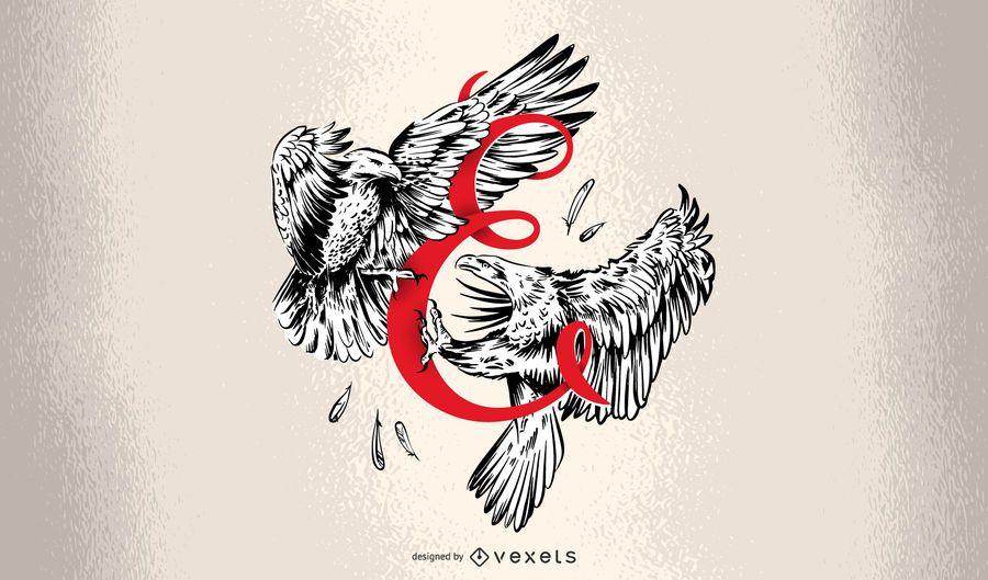 Letter E Eagle Typography Design