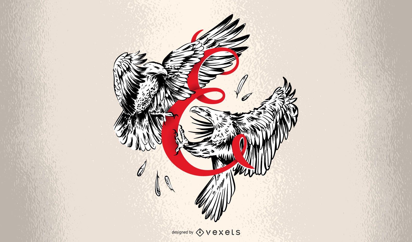 Design de Tipografia Letter E Eagle