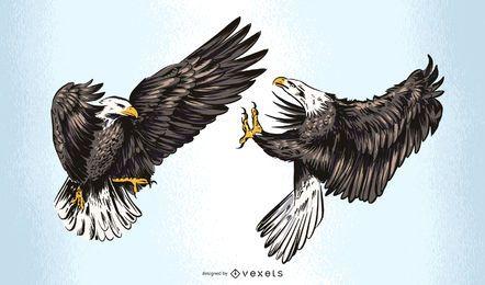 Diseño de ilustración de águilas luchando
