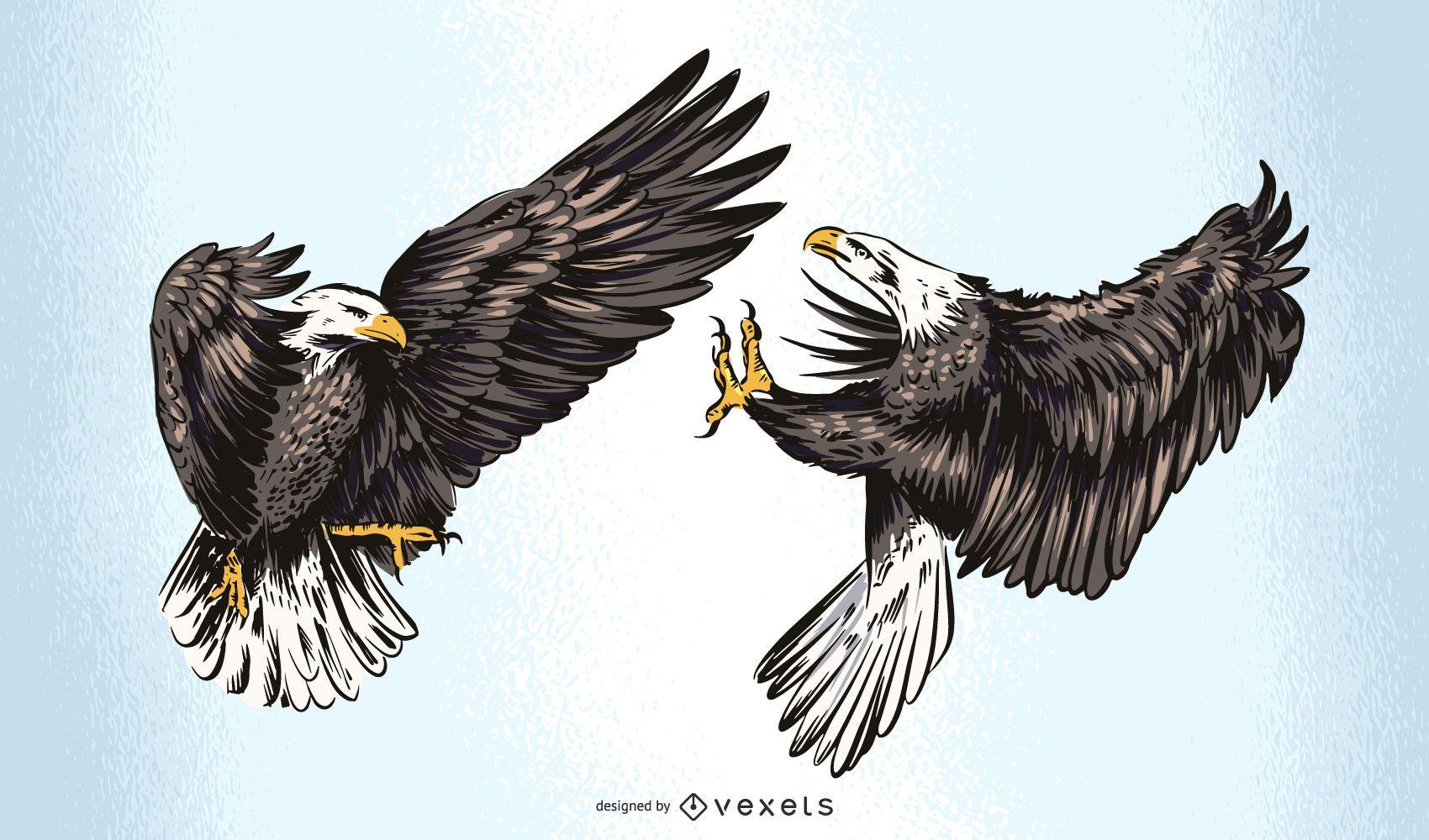 Diseño de ilustración de Fighting Eagles