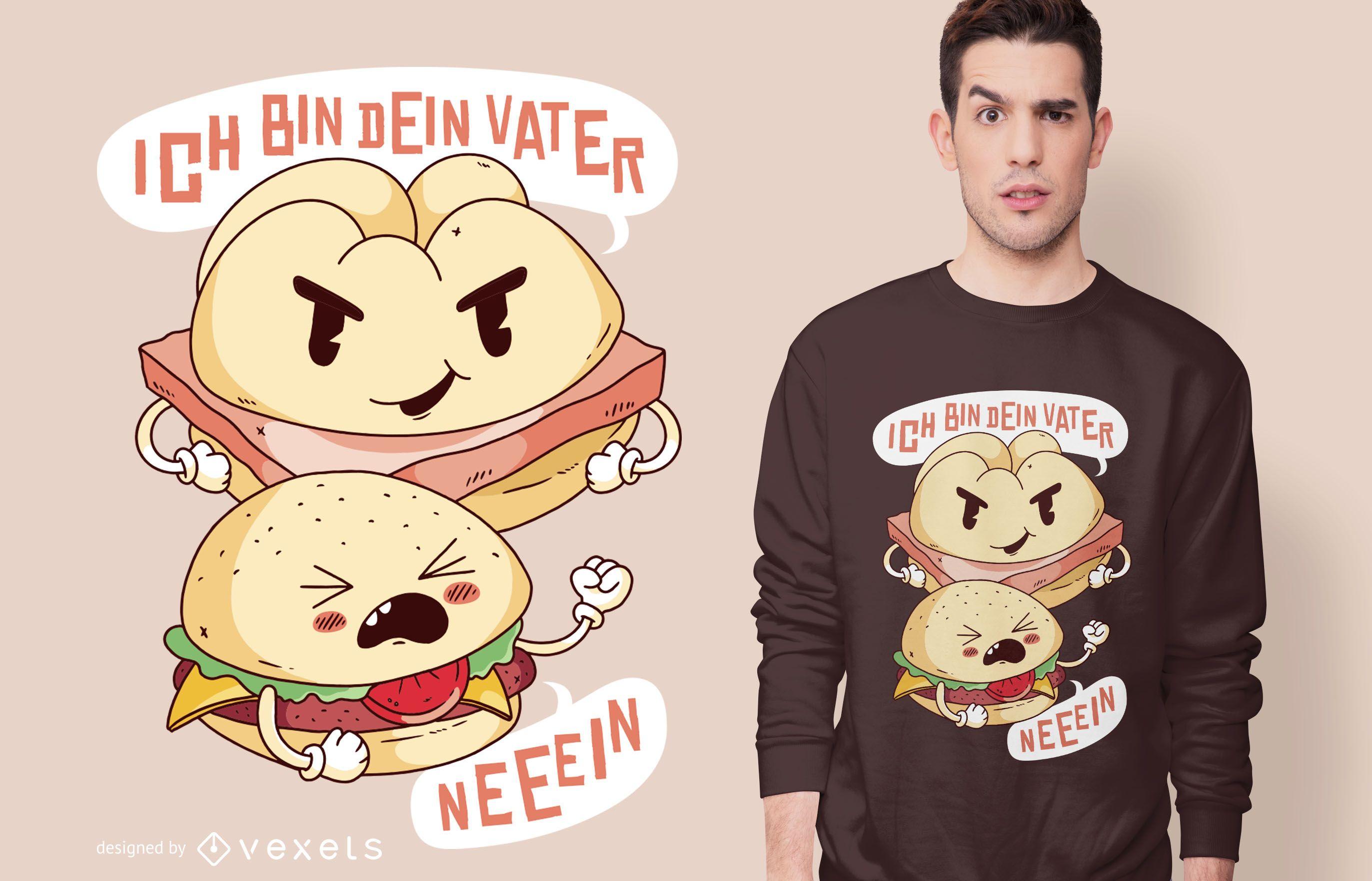 Diseño de camiseta leberkase burger