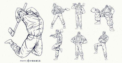 Conjunto de leñadores personajes dibujados a mano