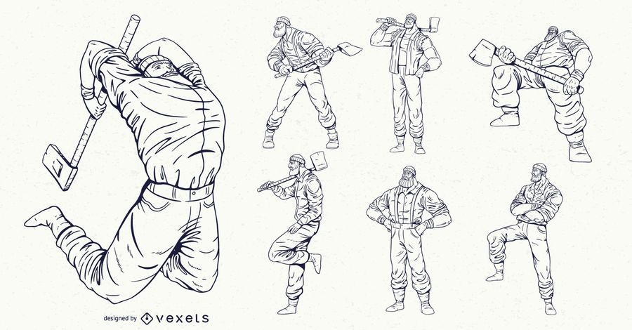 Lumberjack characters hand drawn set