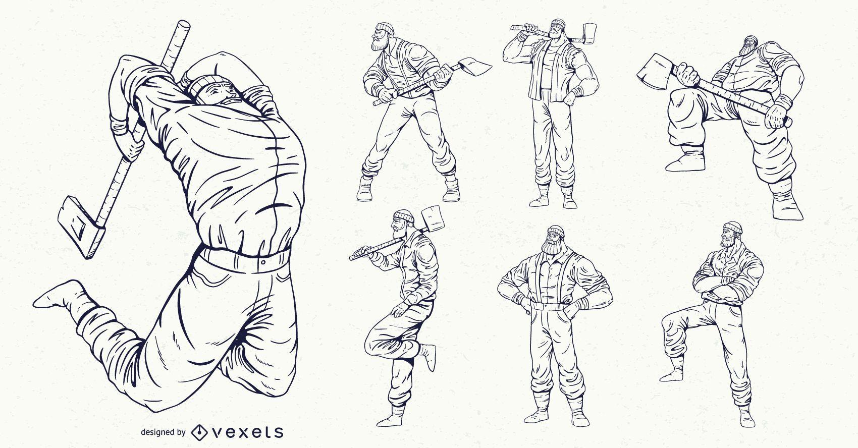 Conjunto de personajes de leñador dibujado a mano