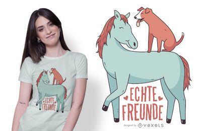 Design de t-shirt de cão e cavalo
