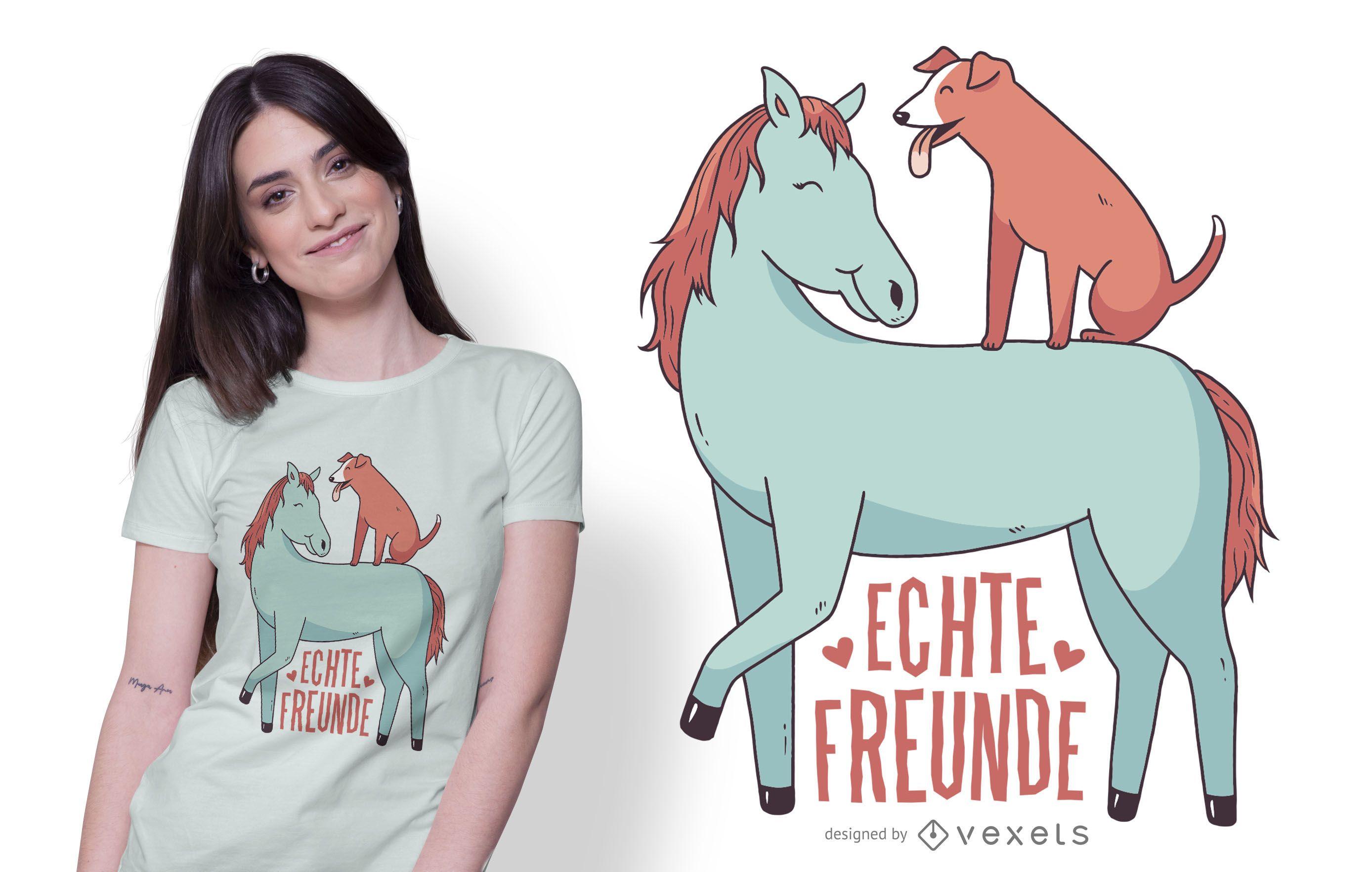 Hund und Pferd T-Shirt Design