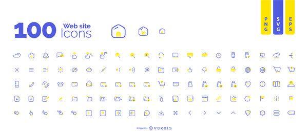 Colección de 100 iconos de sitios web