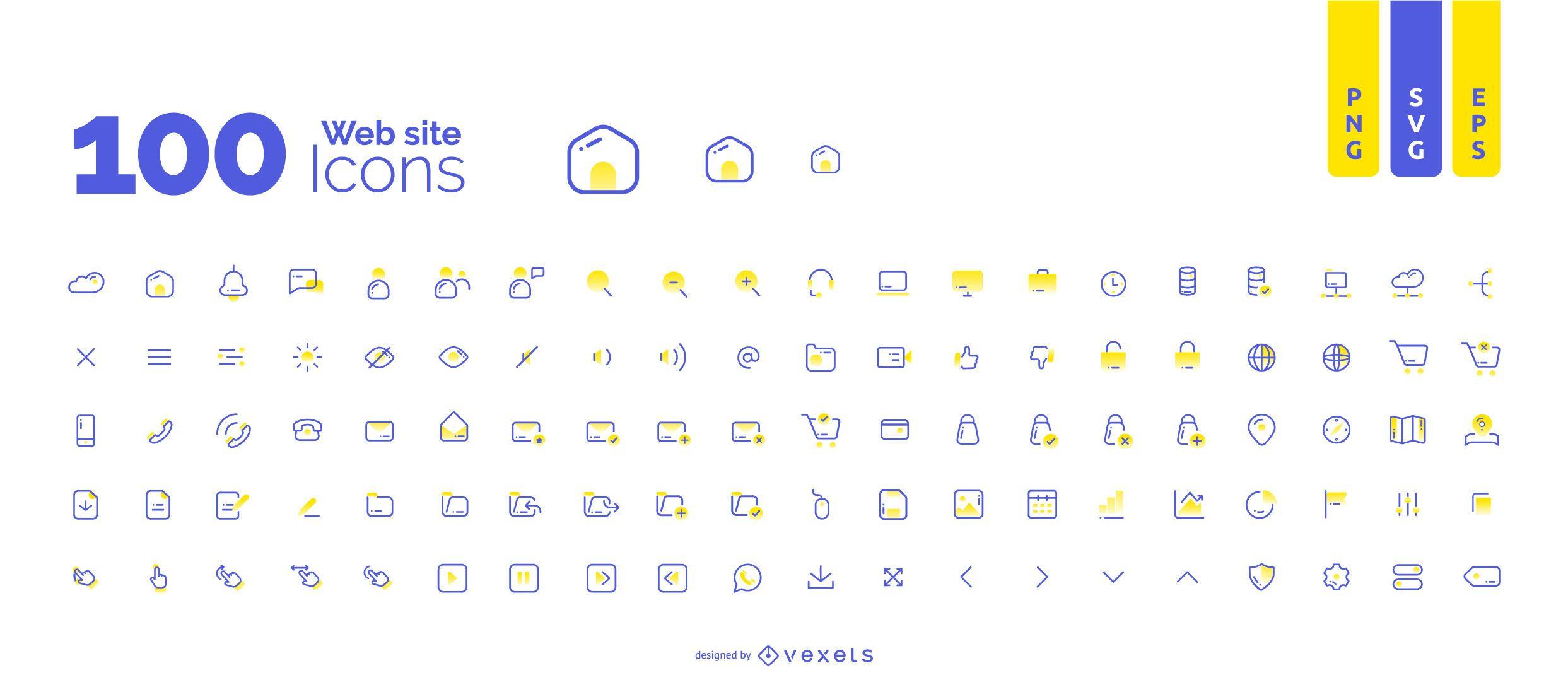 Coleção de 100 ícones de sites