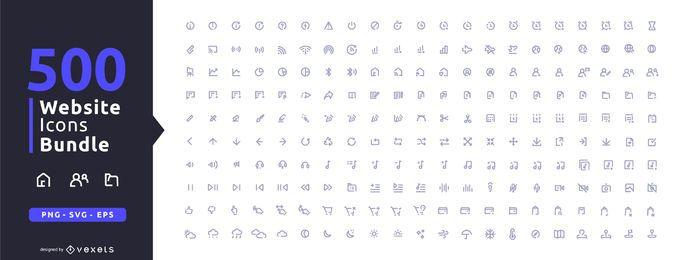 Sammlung von 500 Website-Symbolen