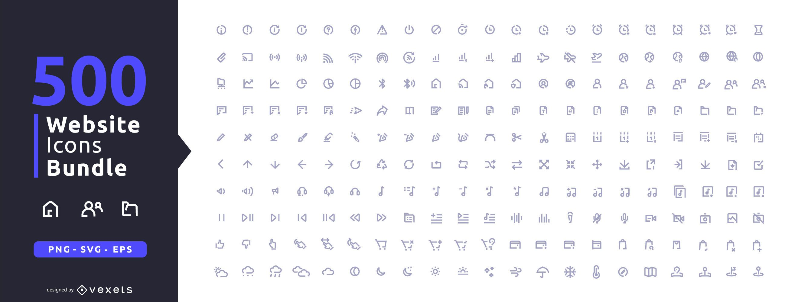 500 website icons collection