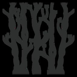 Floresta de árvores negras