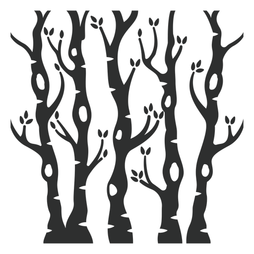 Black trees forest