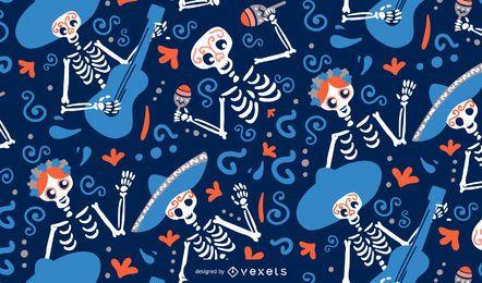 Diseño de patrón de esqueletos de cinco de mayo