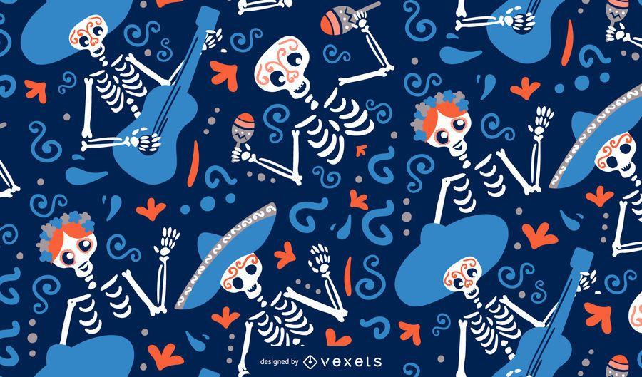 Cinco de mayo skeletons pattern design
