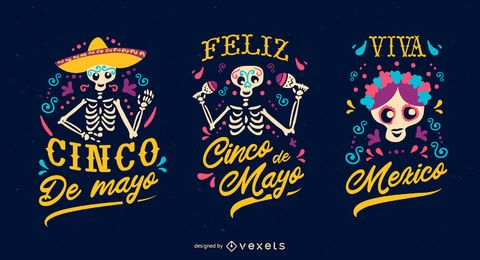 Cinco de mayo badge set