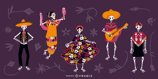 Conjunto de caracteres de esqueletos de cinco de maio