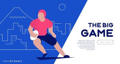 Modelo de slider da Web do jogador de rugby