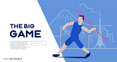 Plantilla de control deslizante de lanzamiento de jabalina de los Juegos Olímpicos