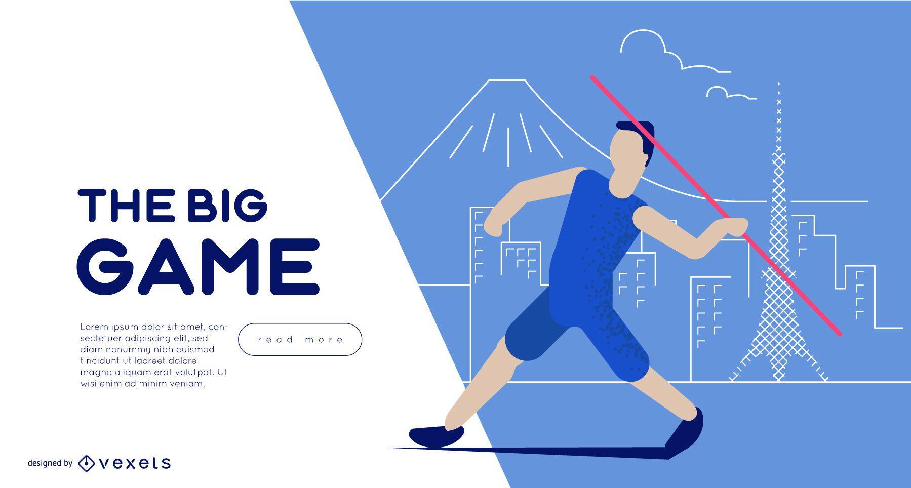 Olympic Games Javelin Throw Web Slider Template