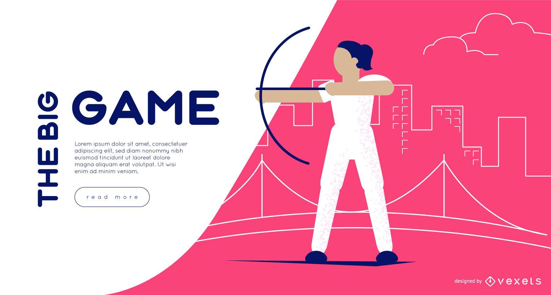 Plantilla de control deslizante web de tiro con arco de los Juegos Olímpicos