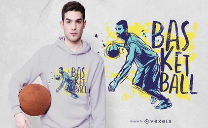 Design de t-shirt de cor de Grunge de basquete