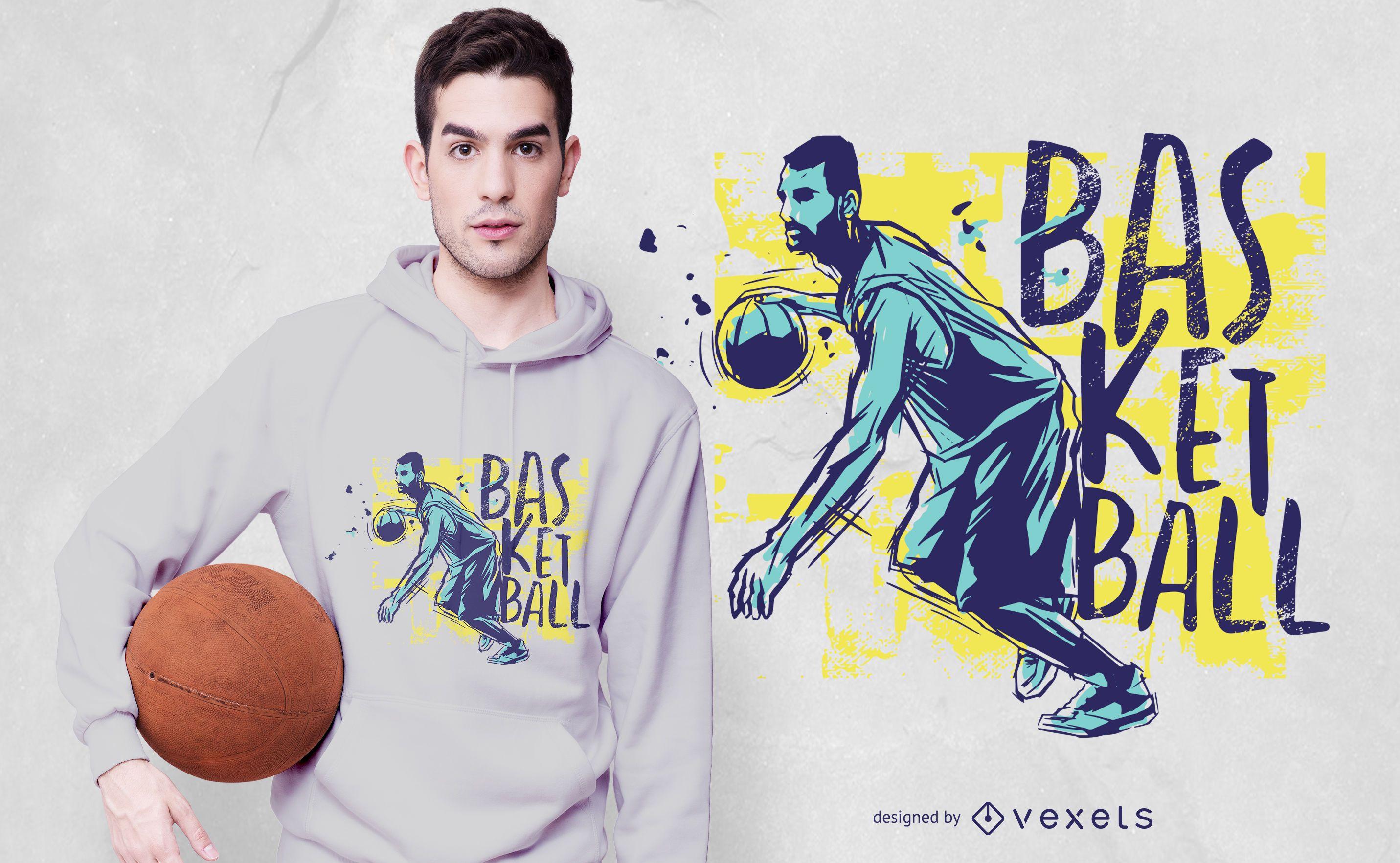 Basketball Grunge Color T-shirt Design