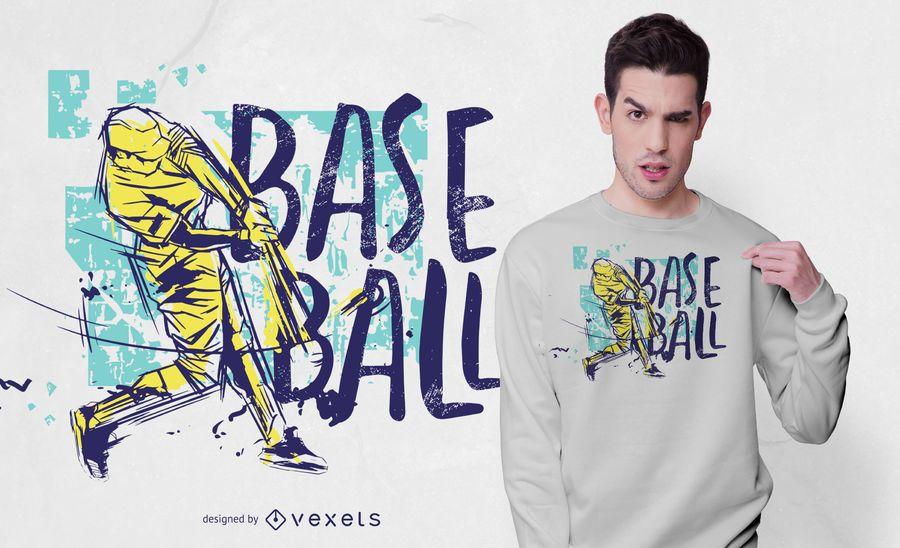 Diseño de camiseta de color Grunge de béisbol