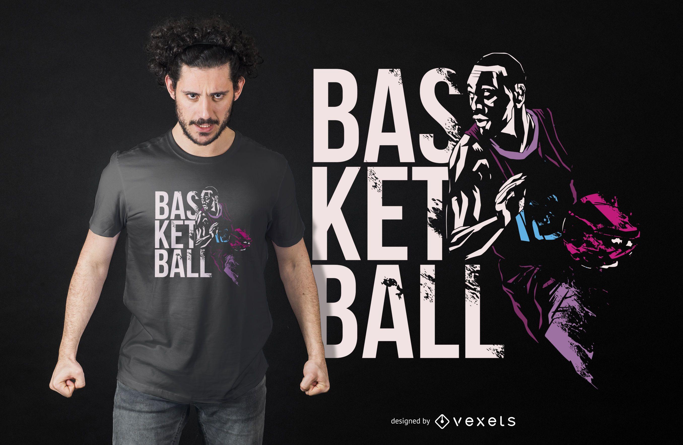 Design de camiseta de basquete grunge com citações