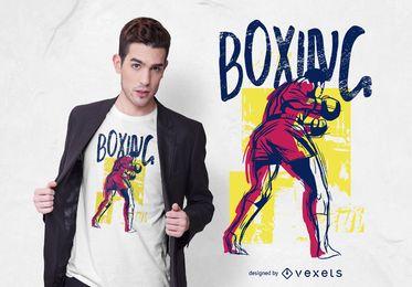 Diseño de camiseta de boxeo deportivo grunge