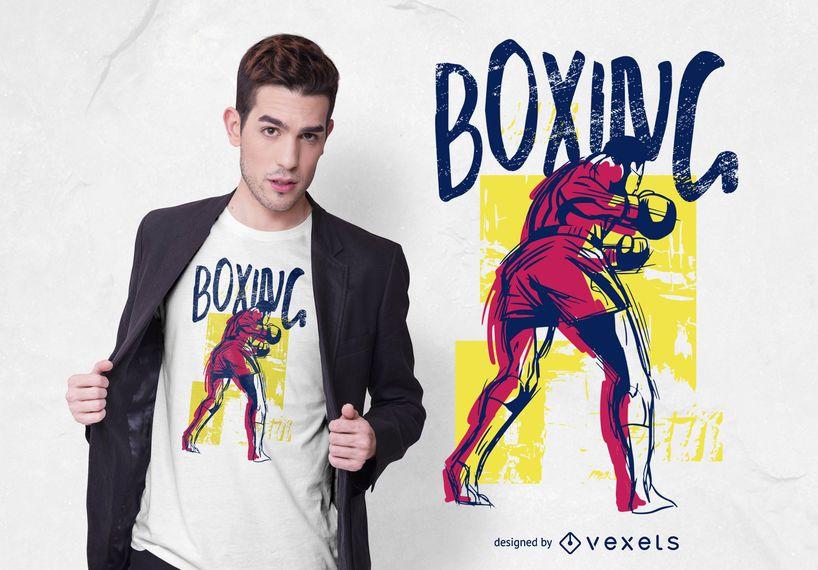Design de t-shirt de grunge de esportes de boxe