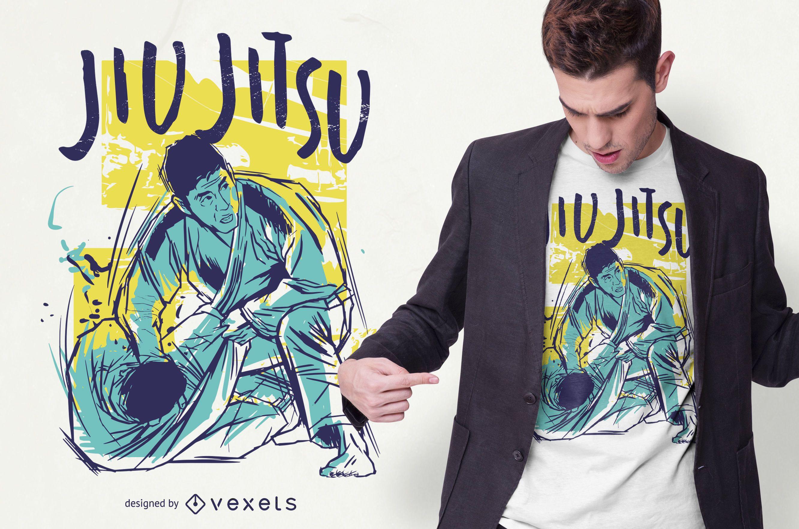 Design de camisetas coloridas Jiu Jitsu grunge
