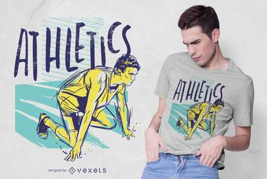 Leichtathletik Grunge Farbe T-Shirt Design
